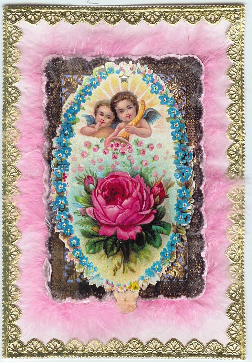 Original victorian greeting cards cherub flame fringed cherub m4hsunfo