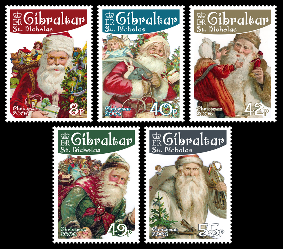 Large View of St. Nicholas stamps for Gibraltar, Christmas 2006